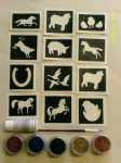Farmyard animal glitter tattoo set including stencils + 5 pots of color +  glue  pig sheet goat chicken cow